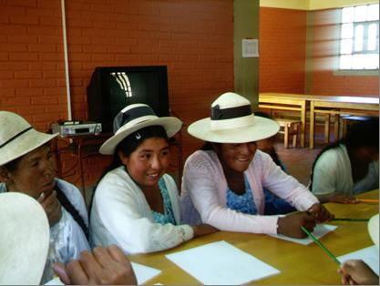 Alfabetización de mujeres y educación a niños (Bolivia)